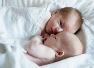 newborn twins home portrait session